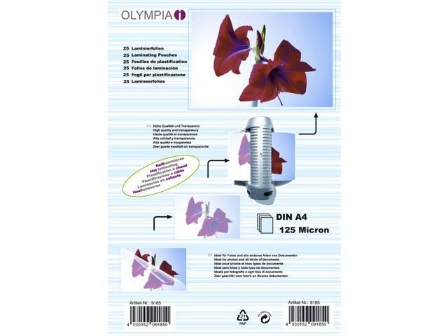 9185 OLYMPIA LAMINIERFOLIEN A4 25Blatt 125mic 1
