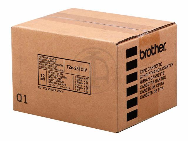 TZE231CIV BROTHER PTOUCH 12mm WEISS-SCH Schriftband 8m laminiert 1